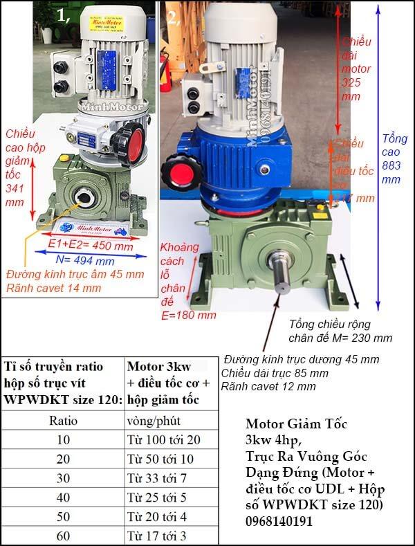 Motor điều chỉnh tốc độ 3Kw 4Hp hộp giảm tốc cốt trục vít WPWDKT size 120