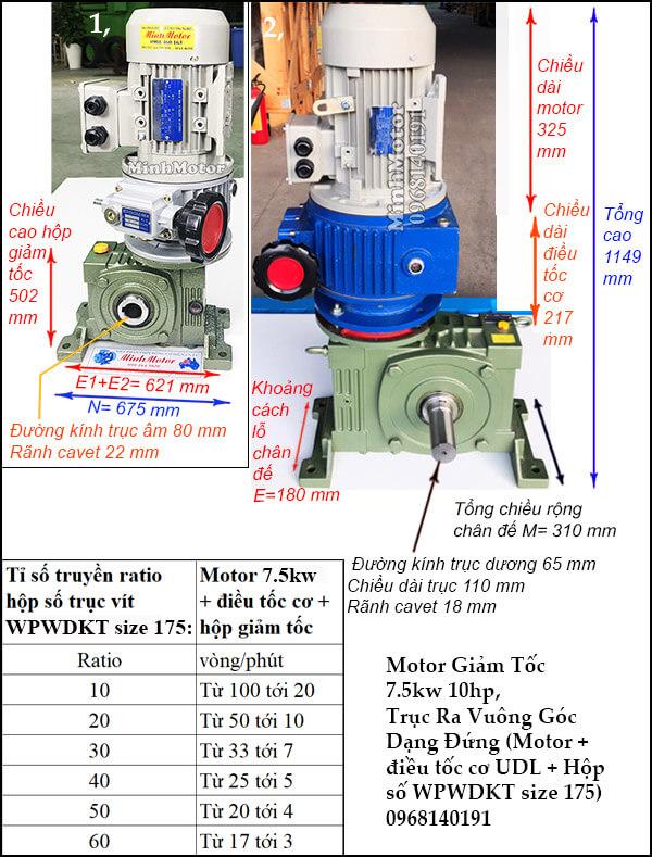 Motor điều chỉnh tốc độ 7.5Kw 10Hp hộp giảm tốc cốt trục vít WPWDKT size 175
