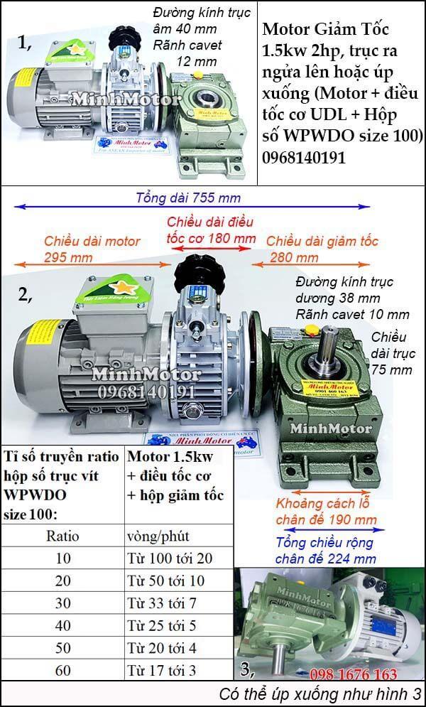 Motor điều chỉnh tốc độ 1.5Kw 2Hp hộp giảm tốc cốt trục ngang WPWDO size 100