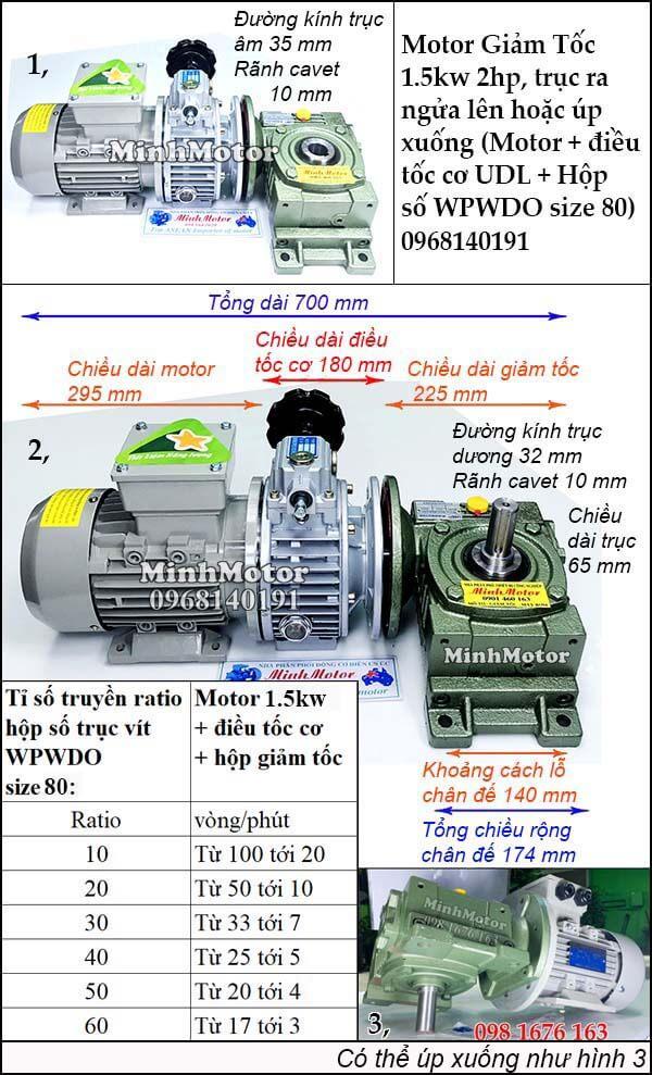 Motor điều chỉnh tốc độ 1.5Kw 2Hp hộp giảm tốc cốt trục ngang WPWDO size 80