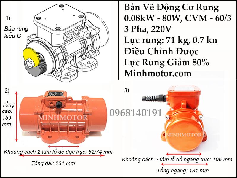 Thông số lựa chọn của đầm rung 80w CVM - 60/3 (MVE 60/3)