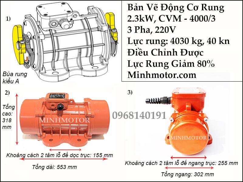 Tư liệu kỹ thuật của đầm rung 2.3kw CVM - 4000/3