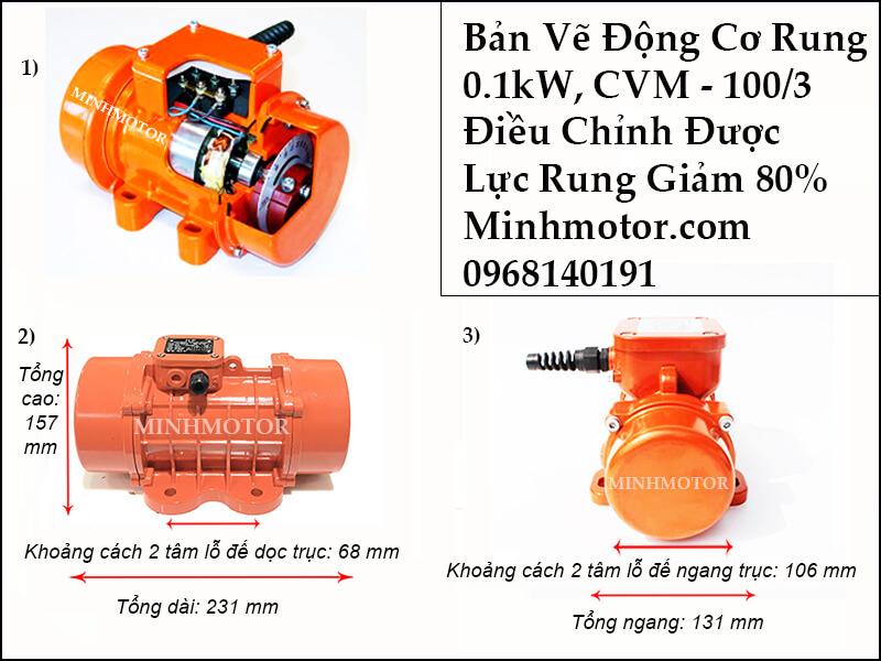 Thông số kỹ thuật động cơ rung 0.1kw CVM - 100S, CVM - 100/3