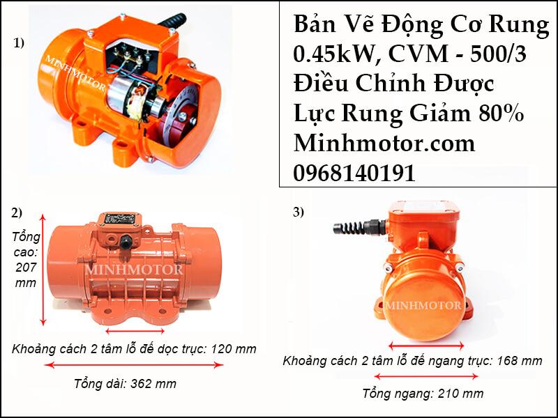 Thông số lựa chọn của motor rung 0.45kw, CVM - 500/3