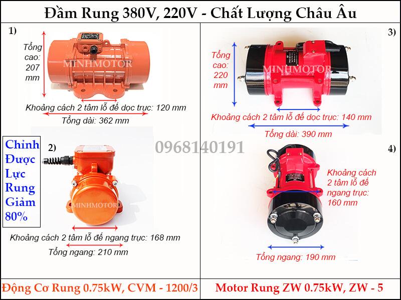 Bản vẽ kích thước đầm rung 0.75kw, CVM - 1200/3 hay motor rung ZW 0.75kw, ZW - 5