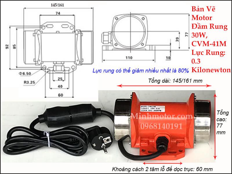 Tư liệu kỹ thuật của đầm rung 30w CVM - 40/4