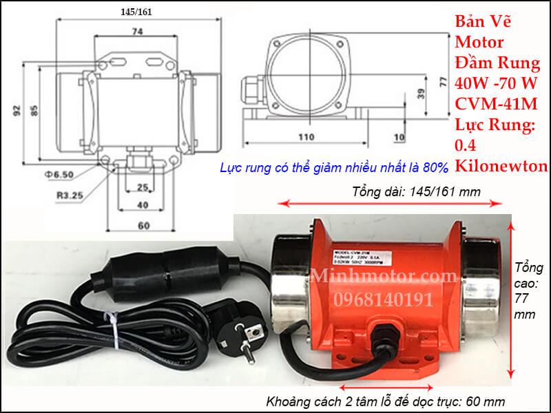 Thông số kỹ thuật động cơ rung 40w CVM - 41M (MVE 21M)