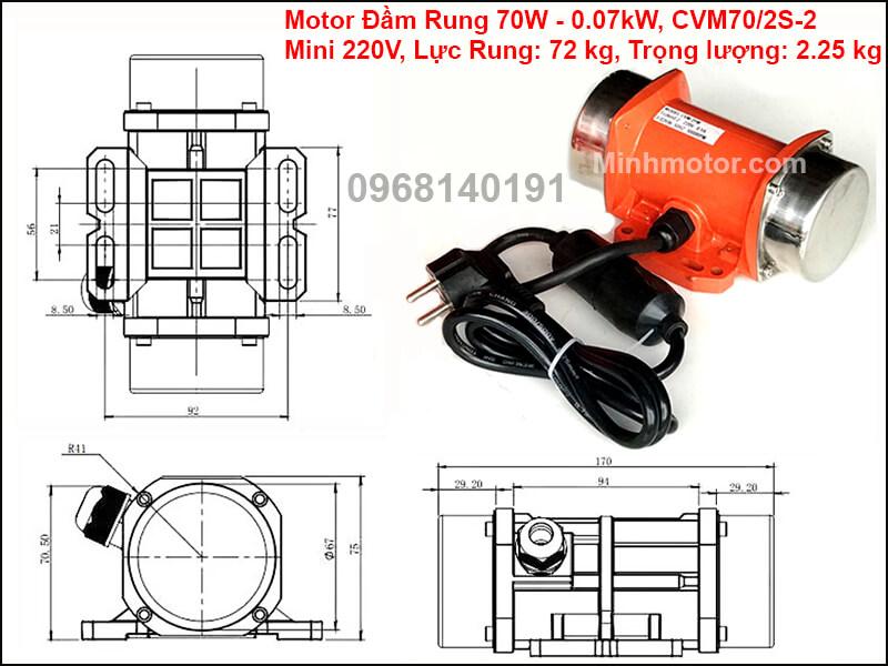 Thông số lắp đặt của đầm rung 70w CVM70/2S-2