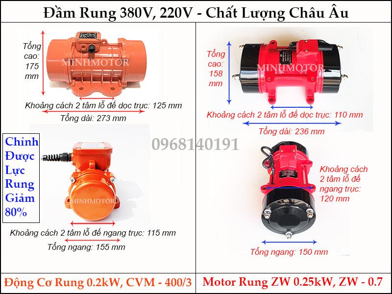 Bản vẽ kích thước đầm rung ZW 0.25kw, ZW - 0.7 hay motor rung 0.2kw, CVM - 400/3