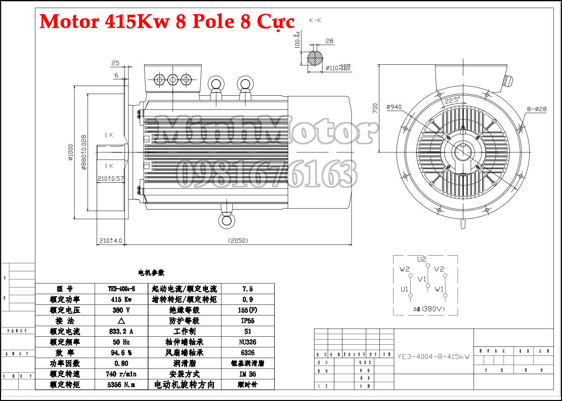 bản vẽ motor 415kw 8 pole 8 cực