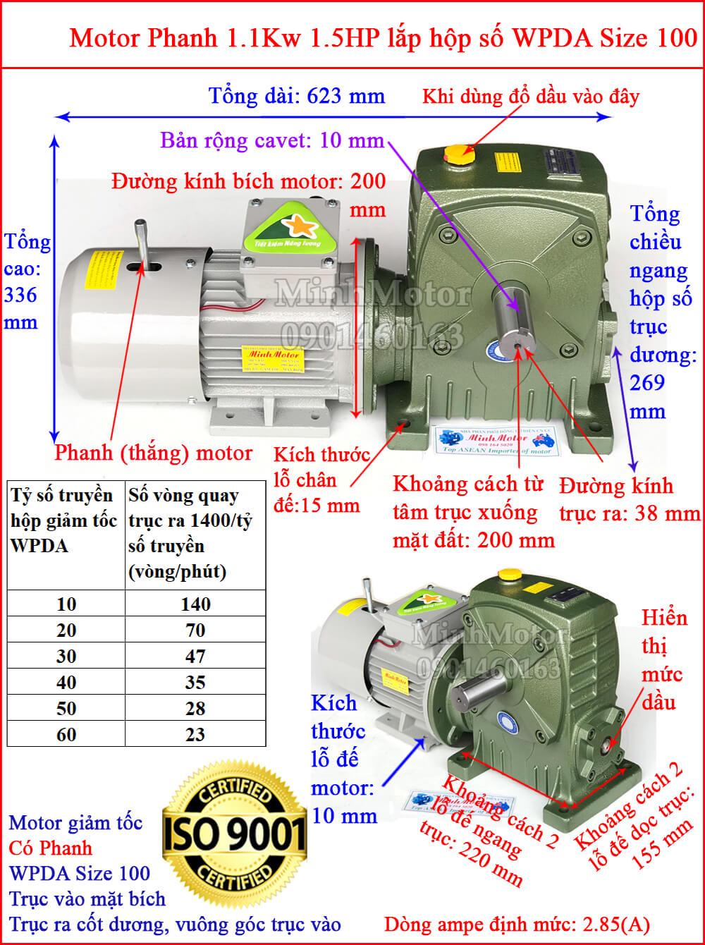motor phanh 1.1kw 1.5hp liền hộp giảm tốc trục vít wpda size 100