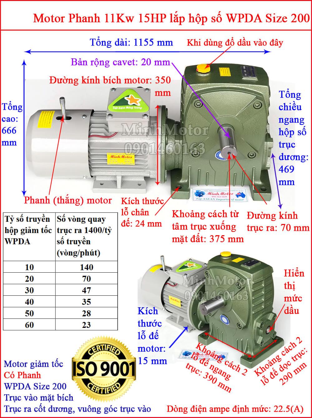 motor phanh 11kw 15hp liền hộp giảm tốc trục vít wpda size 200